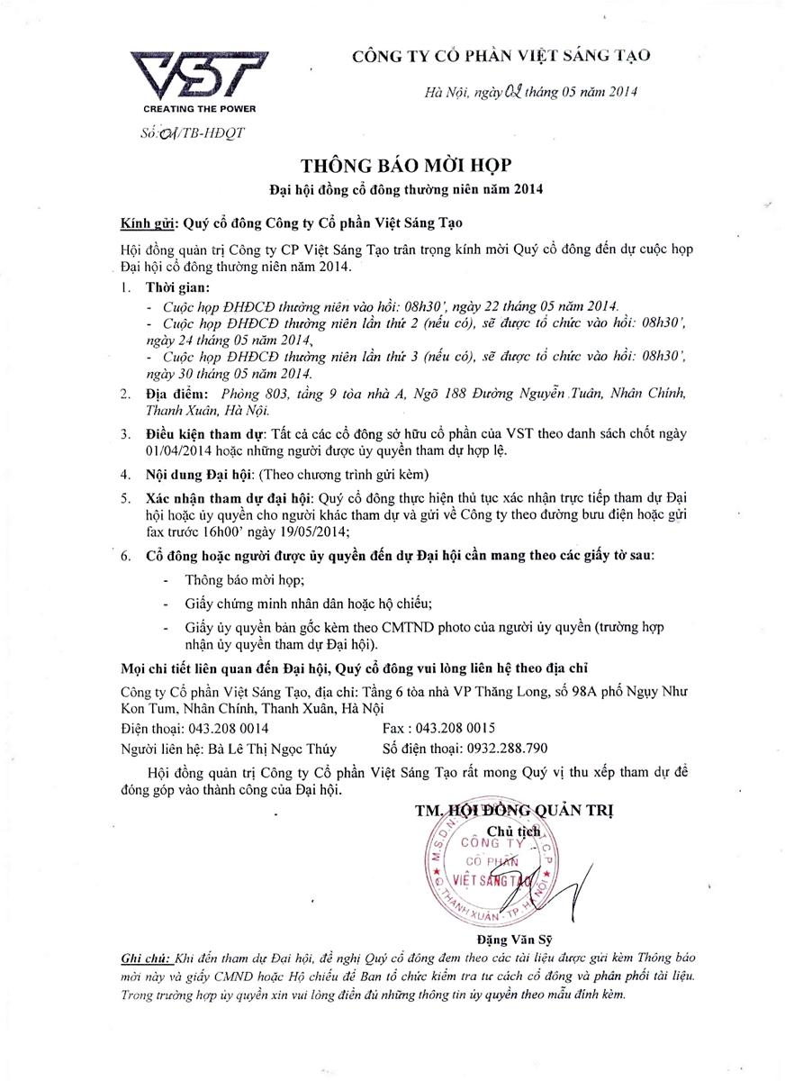 THÔNG BÁO MỜI HỌP Đại hội đồng cổ đông thường niên năm 2014